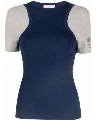 Прямая синяя футболка с вышивкой Nina Ricci