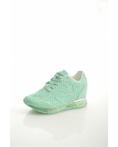Зеленые кожаные кроссовки на шнуровке Chezoliny