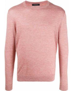 Шелковый розовый свитер свободного кроя в рубчик Ermenegildo Zegna