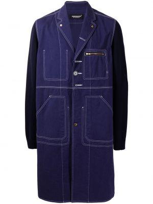 Fioletowy długi płaszcz bawełniany z długimi rękawami Undercover