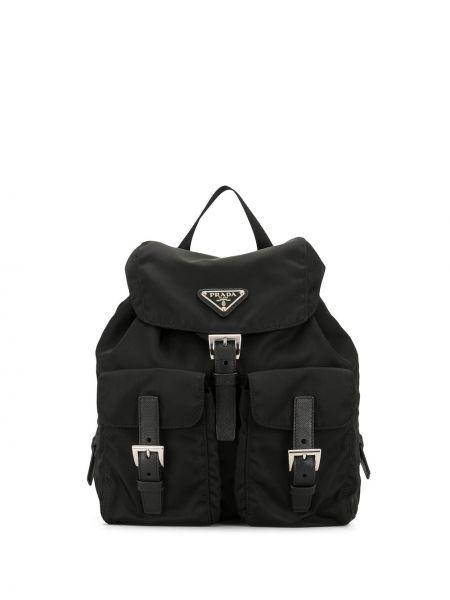 Черный нейлоновый кожаный рюкзак с пряжкой на бретелях Prada Pre-owned
