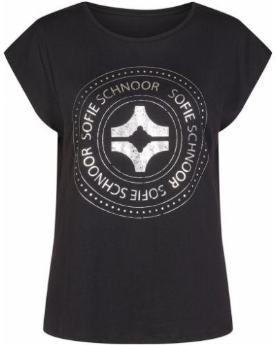 T-shirt z printem - czarna Sofie Schnoor