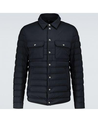 Пуховая синяя куртка с воротником Moncler