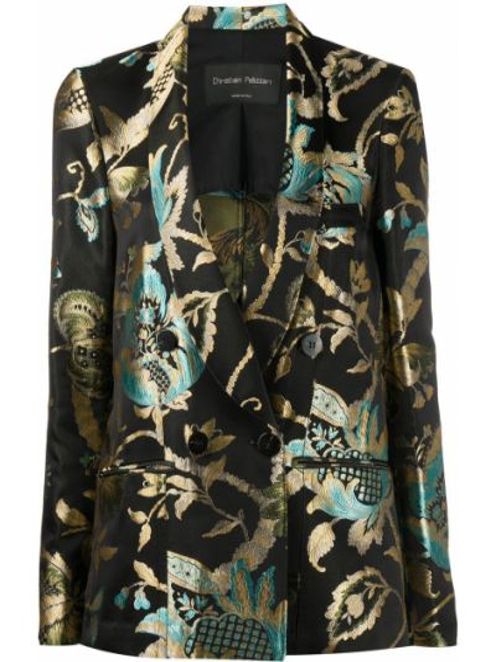 Зеленый шелковый удлиненный пиджак двубортный Christian Pellizzari