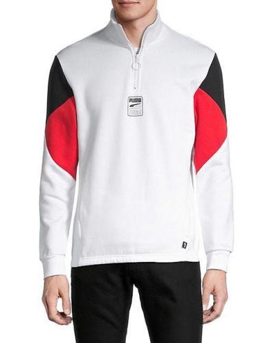 Biały prążkowany pulower z długimi rękawami Puma