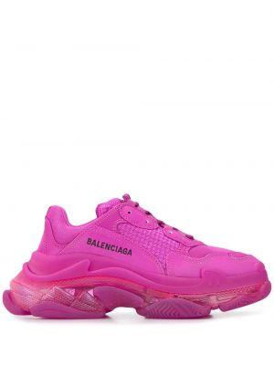 Różowe sneakersy sznurowane koronkowe Balenciaga