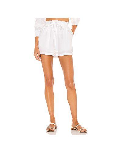 Белые льняные шорты с карманами Seafolly