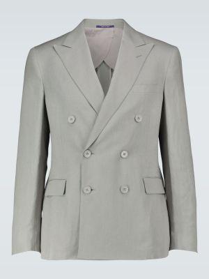 Льняной сиреневый пиджак двубортный Ralph Lauren Purple Label