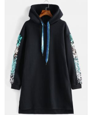 Платье с пайетками с капюшоном Zaful