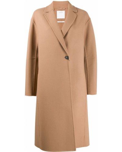 Коралловое однобортное шерстяное длинное пальто Sportmax
