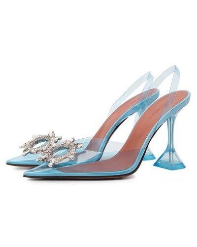 Голубые кожаные туфли Amina Muaddi