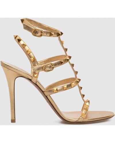Золотистые кожаные босоножки золотые Valentino