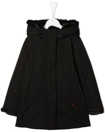 С рукавами акриловое черное длинное пальто с опушкой Woolrich Kids