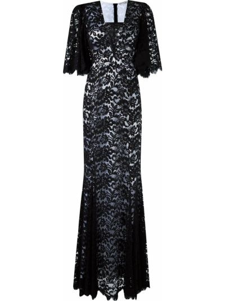 Шелковое черное ажурное платье макси квадратное Martha Medeiros