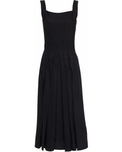 Плиссированное льняное черное платье миди Mcq Alexander Mcqueen