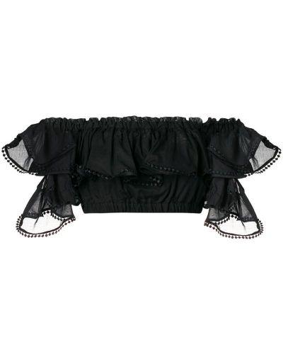 Черный топ с вышивкой с открытыми плечами Charo Ruiz