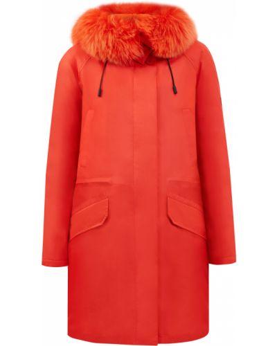 Красная парка из лисы с карманами Yves Salomon