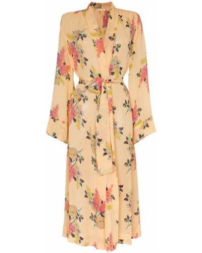 Желтое платье миди с запахом с вырезом на молнии By Timo
