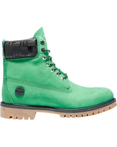 Теплые зеленые ботинки трекинговые на шнурках Timberland