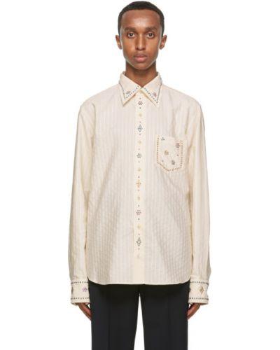 Bawełna koszula z mankietami z kieszeniami z łatami Gucci