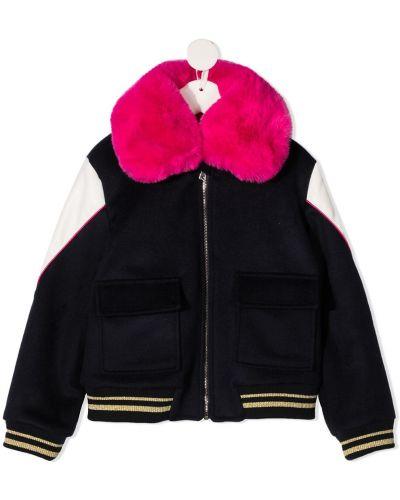 Różowa długa kurtka wełniana z haftem Billieblush