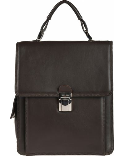 Кожаный портфель - коричневый Nicoli