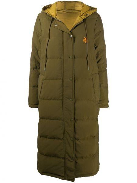 Пуховая длинная куртка с капюшоном хаки Kenzo