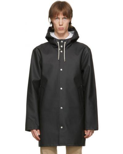 Bawełna czarny z rękawami płaszcz przeciwdeszczowy z kapturem Stutterheim