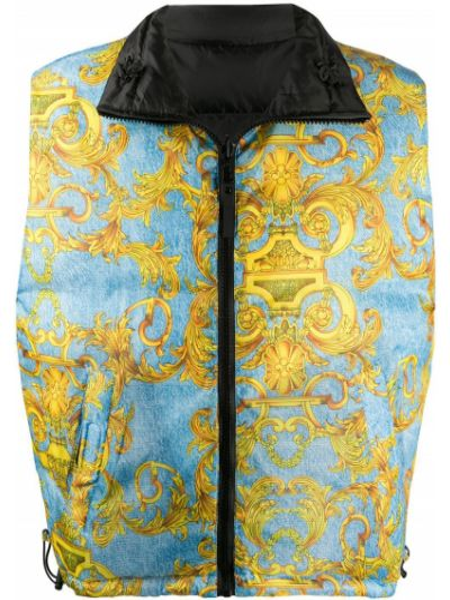 Niebieska kamizelka pikowana bez rękawów Versace Jeans Couture