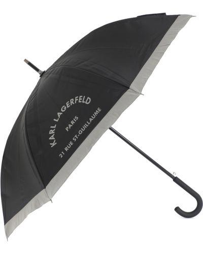 Черный зонт-трость металлический Karl Lagerfeld