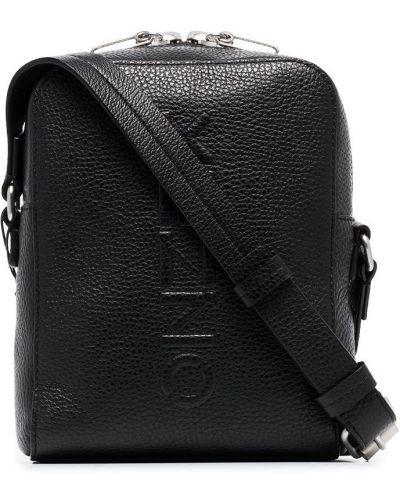Bawełna czarny skórzana torba z prawdziwej skóry wytłoczony Kenzo