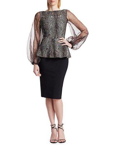 Черное платье макси с длинными рукавами с декольте Chiara Boni La Petite Robe
