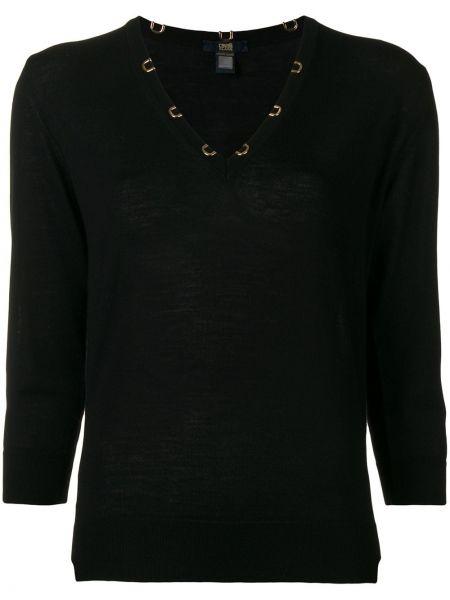 С рукавами шерстяной черный свитер Cavalli Class