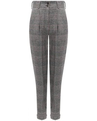 Шелковые серые брюки с отворотом с поясом Kiton