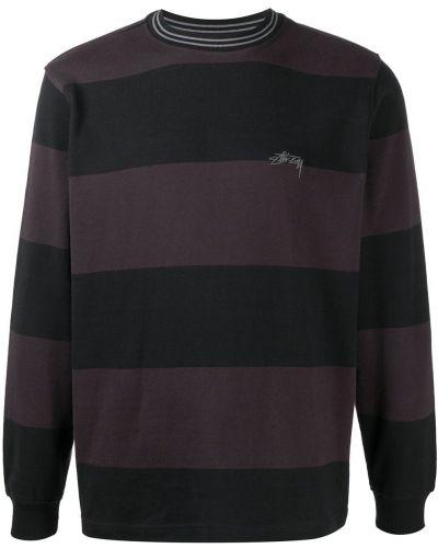Bawełna fioletowy bluza z haftem z mankietami Stussy