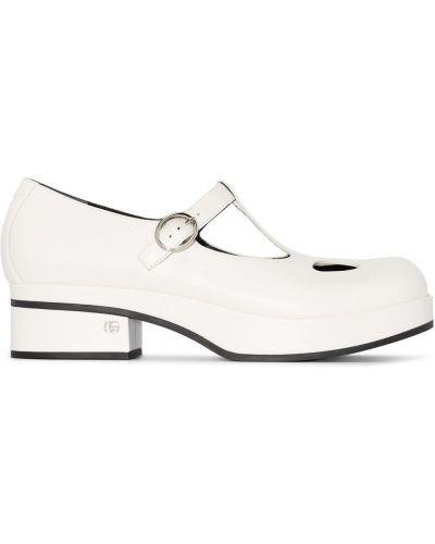 Белые кожаные пинетки на каблуке Gucci