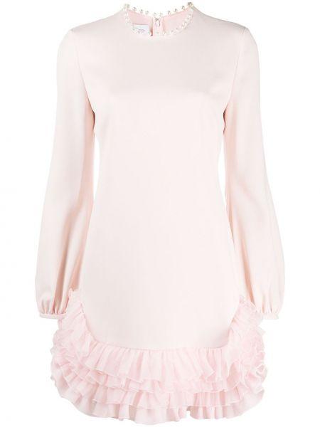 Шелковое розовое платье мини с декольте с длинными рукавами Giambattista Valli