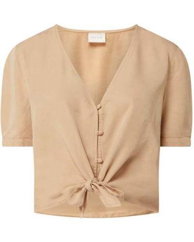 Beżowa bluzka krótki rękaw z dekoltem w serek Vila