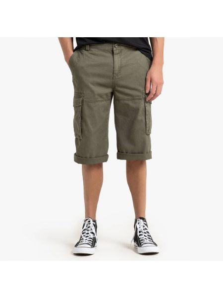 Хлопковые зеленые брюки с карманами на пуговицах La Redoute