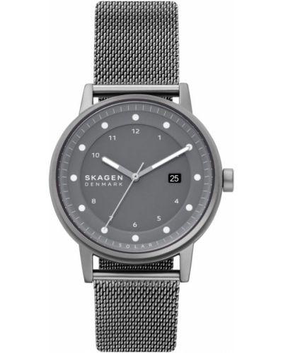 Szary zegarek z siateczką Skagen