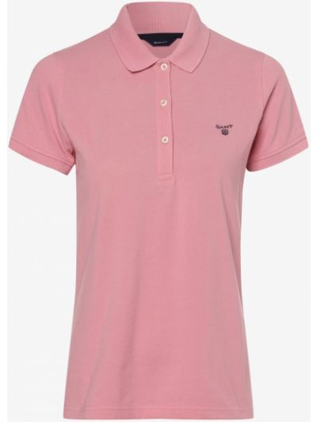 Różowa t-shirt z haftem Gant