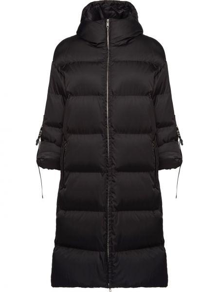 Черная куртка с капюшоном на молнии с воротником с карманами Prada