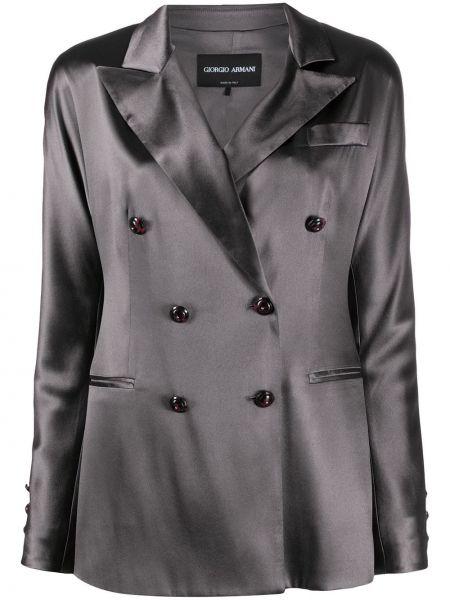 Серый пиджак двубортный с карманами Giorgio Armani