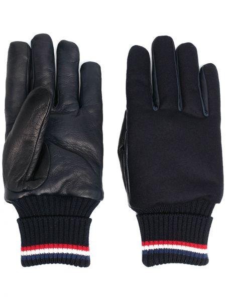 Prążkowane białe rękawiczki skorzane Moncler