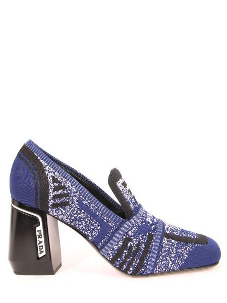 Массивные текстильные черные кожаные туфли с декоративной отделкой Prada