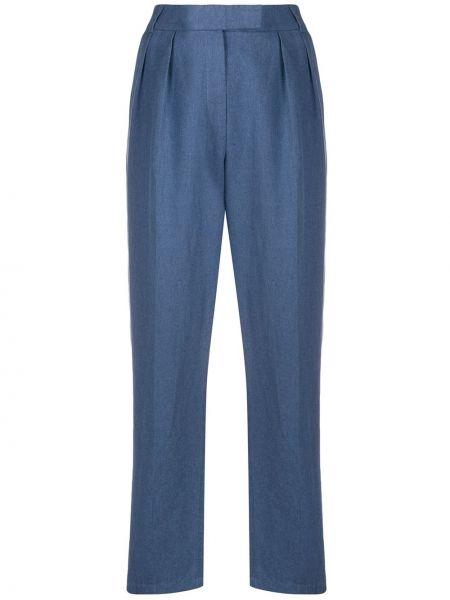 Плиссированные льняные брюки с поясом Frenken