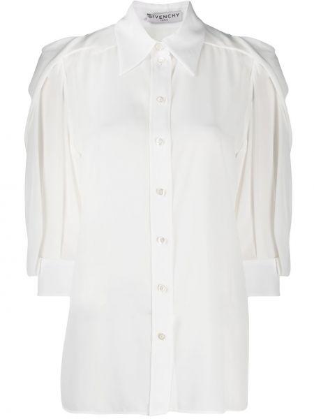 Jedwab prosto biały klasyczna koszula z kołnierzem Givenchy