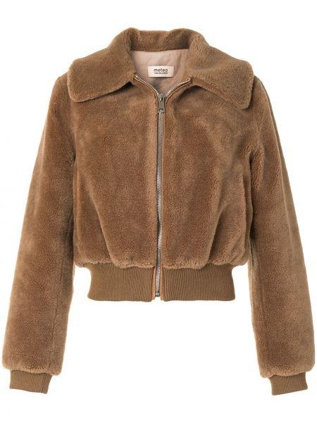 Коричневое шерстяное пальто классическое с воротником Yves Salomon Meteo