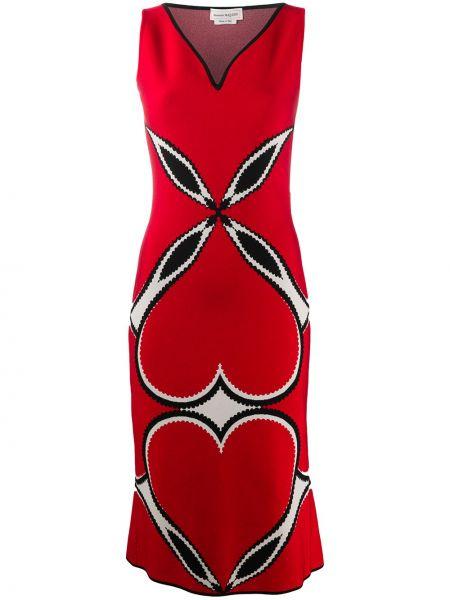 Красное платье с V-образным вырезом без рукавов из вискозы Alexander Mcqueen