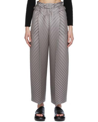 Серебряные брюки с карманами свободного кроя Issey Miyake